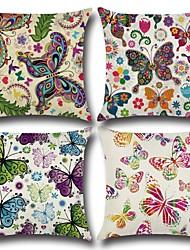 Недорогие -1 штук Хлопок / Лён Наволочка, Бабочка 3D-печати На каждый день Мода Бросить подушку