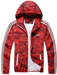 cheap -Men's Sports Plus Size Regular Jacket, Geometric Hooded Long Sleeve Polyester Red / Light Blue / Slim
