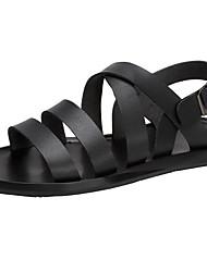 cheap -Men's Comfort Shoes Cowhide Summer Sandals Black / White