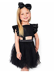 cheap -Kids Girls' Active Cute Solid Colored Backless Bow Layered Sleeveless Knee-length Dress Black / Cotton / Patchwork