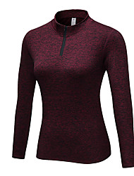 cheap -YUERLIAN Women's Compression Shirt Yoga Top Winter Black Red Blue Rough Black Gray Elastane Running Fitness Gym Workout Tee / T-shirt Long Sleeve Sport Activewear Breathable High Elasticity Slim
