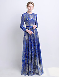 cheap -A-Line Jewel Neck Floor Length Satin / Tulle Sparkle / Blue Engagement / Formal Evening Dress with Sequin / Pattern / Print 2020