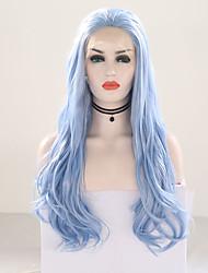 Недорогие -Синтетические кружевные передние парики Волнистый Свободная часть Лента спереди Парик Длинные Светло-синий Искусственные волосы 20-24 дюймовый Жен. Регулируется Жаропрочная Для вечеринок Синий