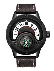 cheap -Oulm Men's Sport Watch Japanese Japanese Quartz Genuine Leather Black / Brown 30 m Compass Moon Phase Analog New Arrival - White Black One Year Battery Life