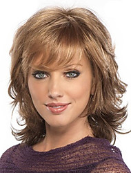 cheap -Synthetic Wig Bangs Curly Loose Curl Free Part Wig Medium Length Light Brown Synthetic Hair 18 inch Women's Fashionable Design Women Sexy Lady Brown