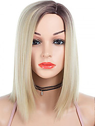 cheap -Synthetic Wig kinky Straight Side Part Wig Medium Length Brown / White Grey Synthetic Hair 14 inch Women's Fashionable Design Smooth Women Light Brown Gray
