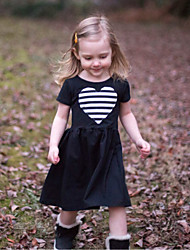 cheap -Kids Toddler Girls' Active Basic Solid Colored Striped Heart Short Sleeve Knee-length Dress Black / Cotton
