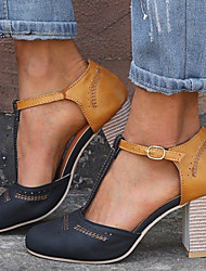 cheap -Women's Synthetics Spring &  Fall / Spring & Summer Casual / Minimalism Heels Chunky Heel Peep Toe Buckle Black / Gray / Blue