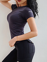 cheap -Women's Patchwork Yoga Top Solid Color Elastane Yoga Running Fitness Tee / T-shirt Short Sleeve Activewear Breathable Micro-elastic