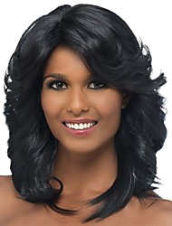 cheap -Synthetic Wig Bangs Curly Spiral Curl Side Part Wig Medium Length Black / Gold Synthetic Hair 18 inch Women's Classic Women Side Part Black / For Black Women