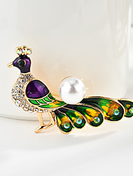cheap -Women's Brooches Classic Bird Peacock Cartoon Sweet Fashion Folk Style Imitation Pearl Brooch Jewelry Assorted Color For Graduation Gift Daily Carnival Festival