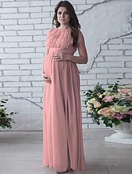cheap -Women's Maternity Basic Maxi Sheath Dress - Solid Colored Blue White Blushing Pink L XL XXL