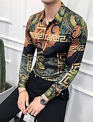 Недорогие -Муж. С принтом Размер ЕС / США - Рубашка Геометрический принт / Этно Зеленый / Длинный рукав