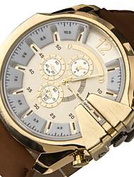 Недорогие -V6 Муж. Спортивные часы Кварцевый Крупногабаритные Кожа Черный / Коричневый Повседневные часы Крупный циферблат Аналоговый На каждый день На открытом воздухе - Коричневый Черно-белый Золотой / Белый