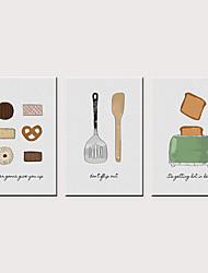 Недорогие -С картинкой Роликовые холсты - Продукты питания Модерн Классика 3 панели Репродукции
