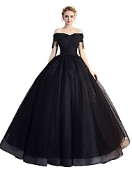 cheap -Ball Gown Off Shoulder Floor Length Tulle Elegant Prom / Formal Evening Dress 2020 with Beading / Sequin / Appliques