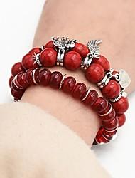 cheap -3pcs Women's Bead Bracelet Vintage Bracelet Earrings / Bracelet Layered Elephant Heart Angel Wings Classic Ethnic Fashion Boho Acrylic Bracelet Jewelry Rainbow / Red / Blue For Daily School Street