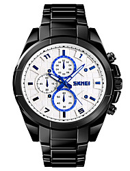 cheap -SKMEI Men's Military Watch Quartz Black 30 m Military Water Resistant / Waterproof Bluetooth Analog Outdoor Fashion - White Black Blue One Year Battery Life