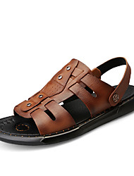cheap -Men's Comfort Shoes Nappa Leather Spring & Summer Sporty / Casual Sandals Breathable Black / Brown