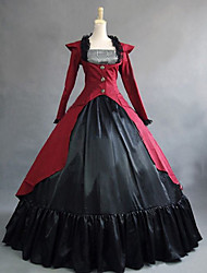 cheap -Vintage Princess Lolita Rococo Dress Cosplay Costume Female Japanese Cosplay Costumes Black / Red / Fuchsia Patchwork Petal Sleeve Long Sleeve Maxi Long Length / Victorian