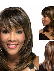 cheap -Synthetic Wig Bangs kinky Straight Bob Free Part Wig Medium Length Brown / Burgundy Synthetic Hair 14 inch Women's Fashionable Design Smooth Women Brown / Ombre Hair