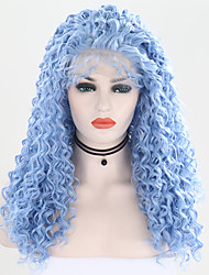 cheap -Synthetic Lace Front Wig Curly Free Part Lace Front Wig Long Light Blue Synthetic Hair 24 inch Women's Adjustable Heat Resistant Party Blue
