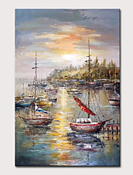 cheap -Mintura Large Size Hand Painted Abstract Wharf Landscape Oil Painting On Canvas Modern Wall Art Picture For Home Decoration No Framed