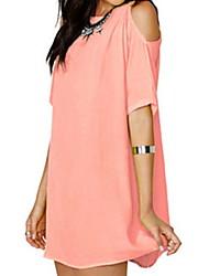 cheap -Women's Basic Chiffon Dress - Solid Colored Pink Yellow Royal Blue XL XXL XXXL