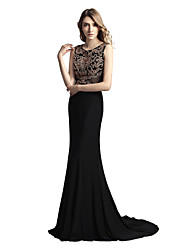 cheap -Mermaid / Trumpet Jewel Neck Court Train Jersey Elegant & Luxurious / Sparkle & Shine Formal Evening Dress with Beading 2020