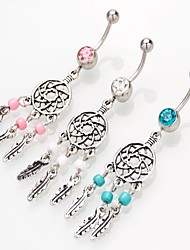cheap -Navel Ring / Belly Piercing Trendy Women's Body Jewelry For Carnival Festival Tassel Fringe Imitation Diamond Alloy Dream Catcher Pink Blue White 1pc