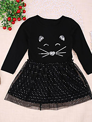 cheap -Baby Girls' Active / Basic Solid Colored / Polka Dot Lace / Sequins / Mesh Long Sleeve Knee-length Cotton Dress Black / Toddler