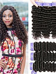cheap -3 Bundles Peruvian Hair Deep Wave Unprocessed Human Hair 100% Remy Hair Weave Bundles Headpiece Natural Color Hair Weaves / Hair Bulk Bundle Hair 8-28 inch Natural Human Hair Weaves Extender