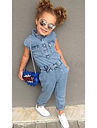 abordables -Enfants Bébé Fille Rétro Vintage Basique Couleur Pleine Coton Ensemble & Combinaison Bleu