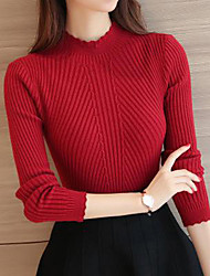 cheap -Women's Solid Colored Long Sleeve Pullover Sweater Jumper, High Neck Spring / Fall Black / White / Blushing Pink One-Size