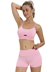 cheap -Women's Yoga Suit Solid Color Elastane Yoga Running Gym Workout Clothing Suit Sleeveless Activewear Breathable Moisture Wicking Quick Dry Micro-elastic Slim
