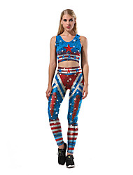 cheap -Catsuit Swimsuit Swimwear Cosplay Costumes Beach Girl Adults' Cotton Cosplay Costumes Cosplay Halloween Women's Blue Printing Christmas Halloween Carnival / Vest / Pants / Vest / Pants