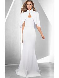 cheap -Women's Cocktail Party Prom Basic Maxi Trumpet / Mermaid Dress Black White Blue S M L XL