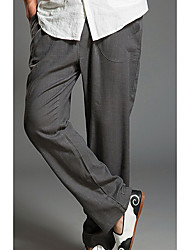 Недорогие -Муж. Шинуазери (китайский стиль) Чино Брюки - Однотонный Лён Темно синий Хаки Светло-серый XL XXL XXXL