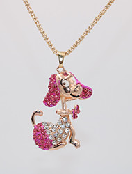 cheap -Women's Pendant Necklace Necklace Classic Dog Animal Unique Design Sweet Fashion Cute Chrome Rose Gold Plated Red Pink Light Blue 70 cm Necklace Jewelry 1pc For Birthday Graduation Street Festival