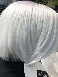 cheap -Costume Accessories Synthetic Wig Classic Natural Straight Bob Middle Part Wig Short White Synthetic Hair 12 inch Women's Synthetic Lovely Fashion White