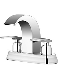 cheap -Bathroom Sink Faucet - Waterfall Chrome Centerset Two Handles Three HolesBath Taps