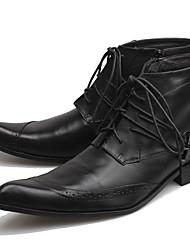Недорогие -Муж. Fashion Boots Наппа Leather Осень / Наступила зима Классика / На каждый день Ботинки Сохраняет тепло Ботинки Черный / Офис и карьера / Армейские ботинки
