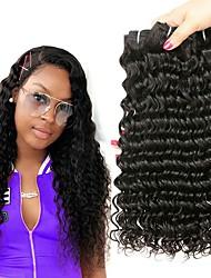 cheap -4 Bundles Brazilian Hair Deep Wave Virgin Human Hair Natural Color Hair Weaves / Hair Bulk Bundle Hair One Pack Solution 8-28inch Natural Color Human Hair Weaves Waterfall Odor Free Lustrous Human