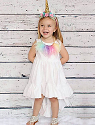 cheap -Kids Girls' Active Cute Solid Colored Ruched 3/4 Length Sleeve Sleeveless Asymmetrical Dress White / Cotton
