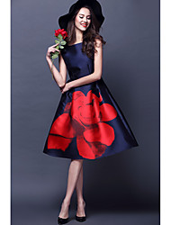 cheap -A-Line Boat Neck Knee Length Satin Floral / Blue Cocktail Party / Holiday Dress with Pattern / Print 2020