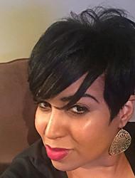 cheap -Human Hair Capless Wigs Human Hair kinky Straight / Natural Straight Pixie Cut / Layered Haircut / Asymmetrical / Short Hairstyles 2019 Life / Women / Hot Sale Black / Natural Black Short Capless Wig