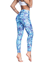 cheap -Women's High Waist Yoga Pants Leggings Breathable Quick Dry Moisture Wicking Pale Blue Lycra Non See-through Gym Workout Running Fitness Sports Activewear High Elasticity Slim / Full Length