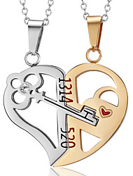 cheap -Men's Women's Necklace Charm Necklace Broken Heart Relationship Stainless Steel Gold Black 50 cm Necklace Jewelry 2pcs For Daily School Street Holiday Festival