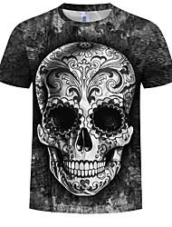 cheap -Men's Plus Size Cotton T-shirt - 3D / Skull Print Round Neck Black