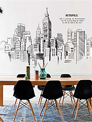 cheap -Large bedroom decorations hand-painted city buildings self-adhesive wallpaper stickers living room sofa TV background wall stickers